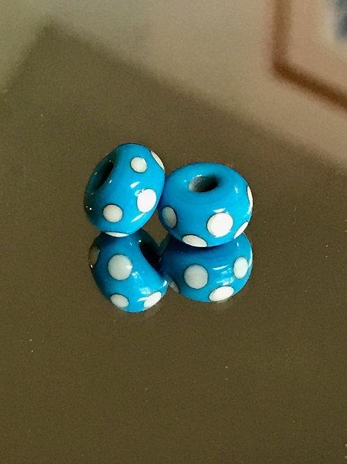 Set of Turquoise and Ivory Dot spacer beads