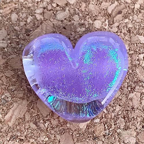 Purple opal dichroic heart