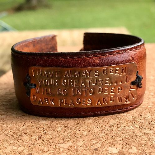 Upcycled leather bracelet with quote