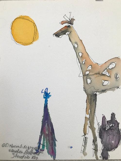 Peacock, giraffe and cat