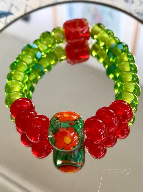 Striking orange and green bracelet