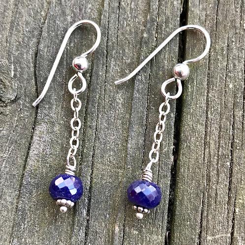 Sapphire sterling silver earrings 1 3/4 in