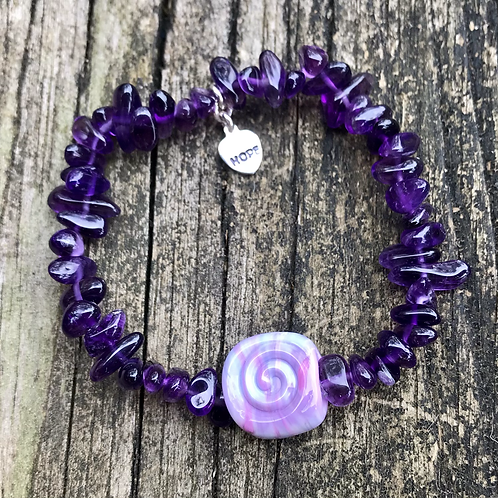 Amethyst and spiral/peace sign lampwork bead bracelet