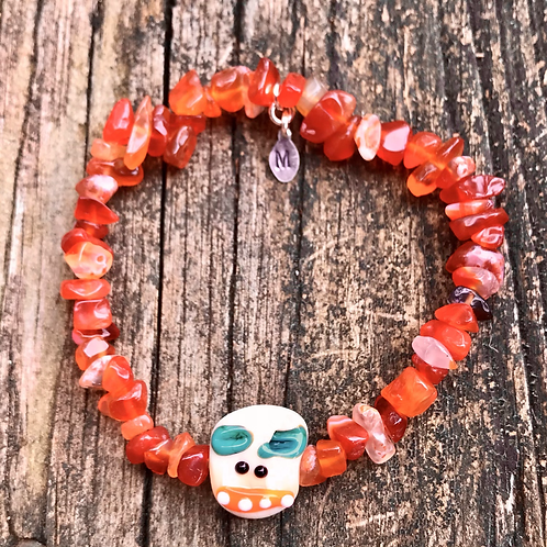 Monster face gemstone bracelet, carnelian