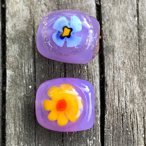 Lampwork bead with flowers