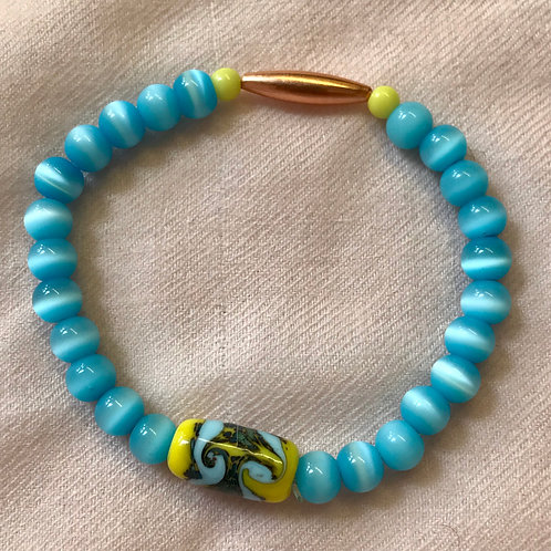 Yellow and blue lampwork bead bracelet