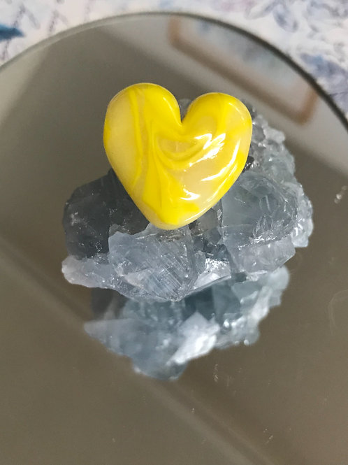 Yellow and glow in the dark glass, heart shaped