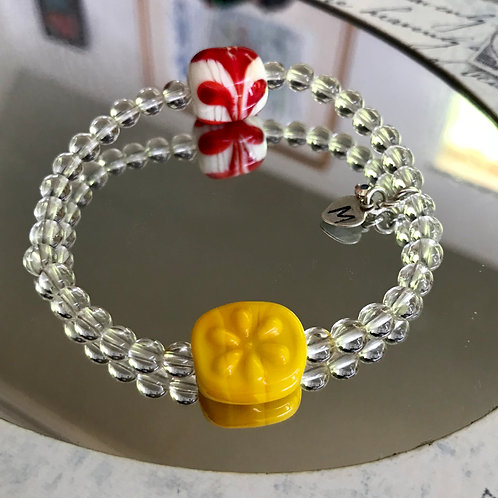 Yellow flower and crystal quartz bracelet