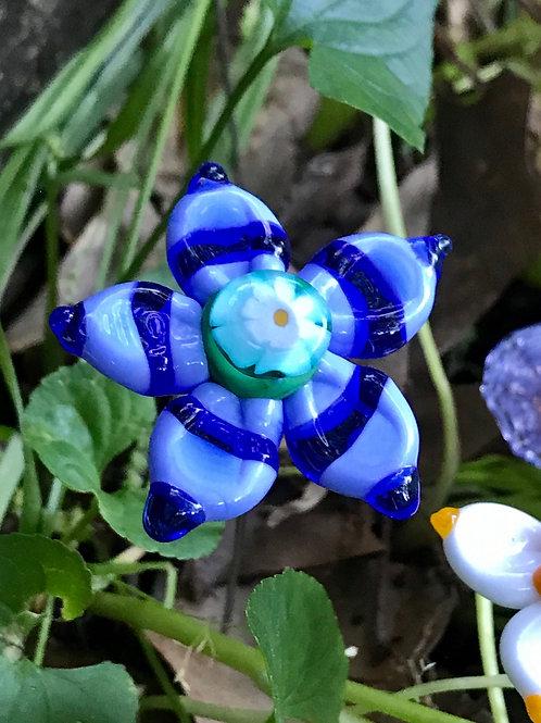 Blue stripy flower with flower murrini center, large