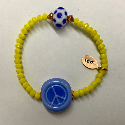 Blue peace lampwork bead with yellow glass beads and copper love charm