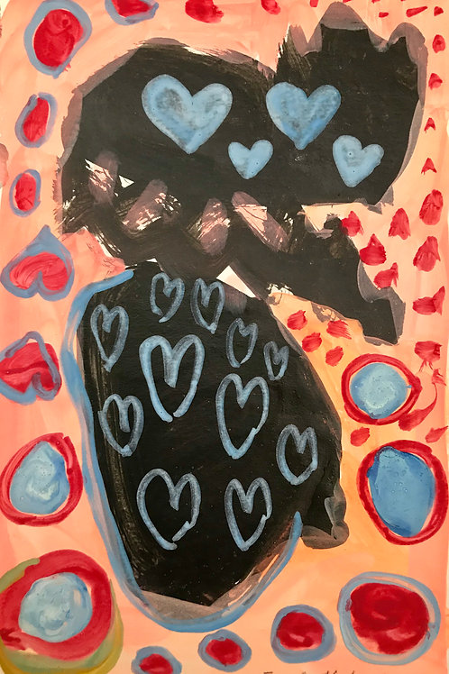 Blue hearts on a black with orangy pink