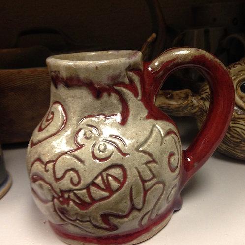 Dragon pinch pot mug, stoneware