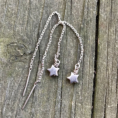 Falling stars on sterling silver threads
