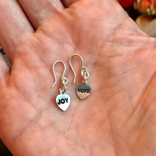 Tiny mantra earrings joy/hope