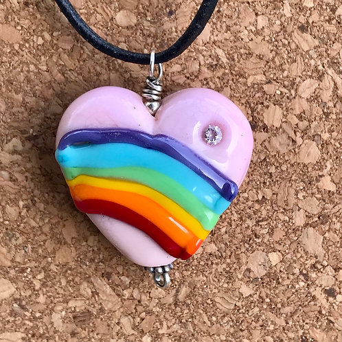 Pink heart Rainbow with cz
