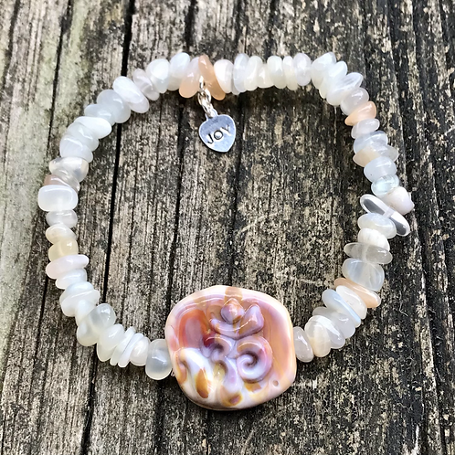 Moonstone and Om lampwork bead bracelet