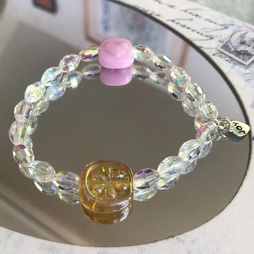 Sliver glass flower stamped and pink heart bracelet