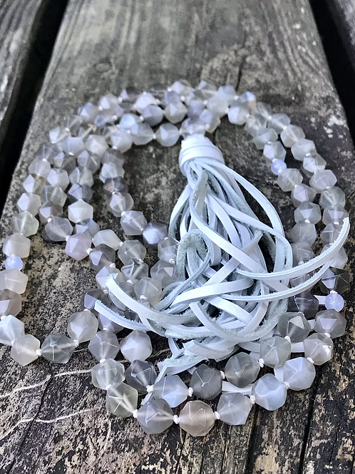 Moonstone and blue lace agate Mala beads