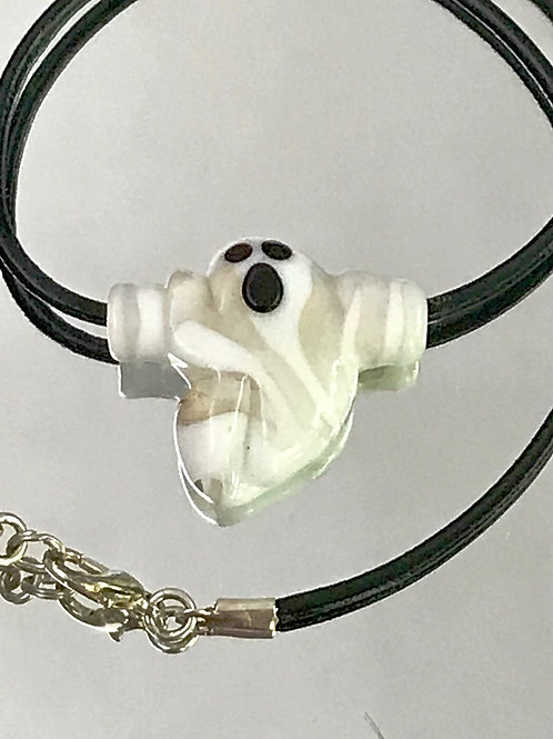 Glass ghost bead necklace