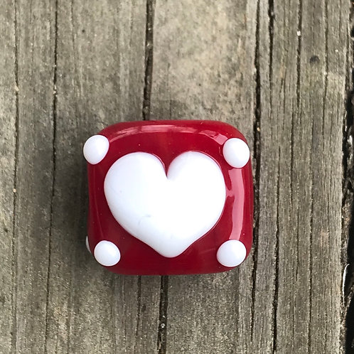 Square heart bead with dots