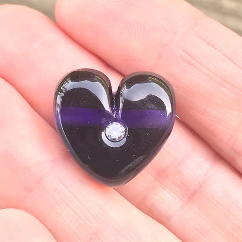 Darkest Purple Heart with cz horizontal hole
