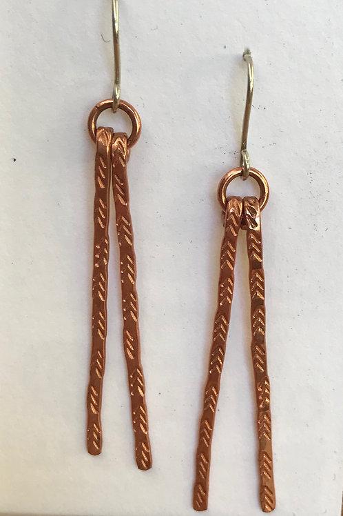 Copper double bar earrings