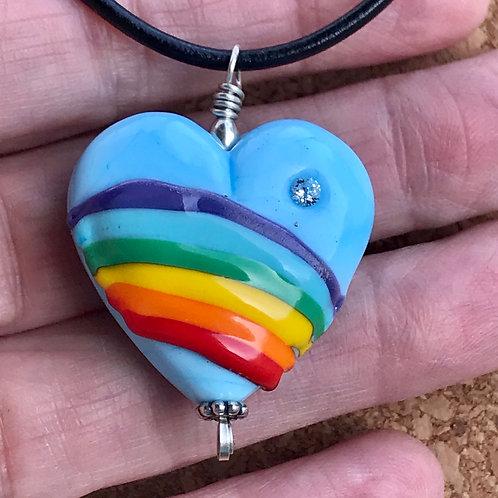 Blue rainbow heart with cz