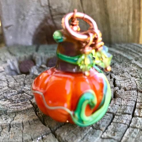 Mystic Orange pumpkin with green Swarovski crystals