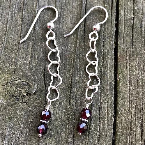 Garnet on sterling silver heart chain