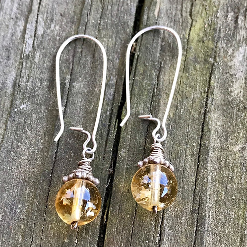 Large citrine drops on sterling silver