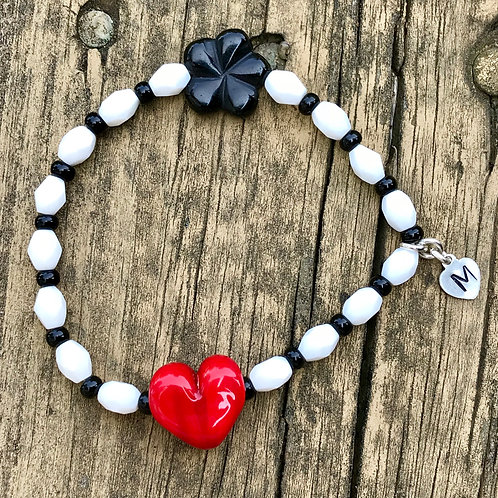 Red heart lampwork bead with white and black beads and sterling silver charm