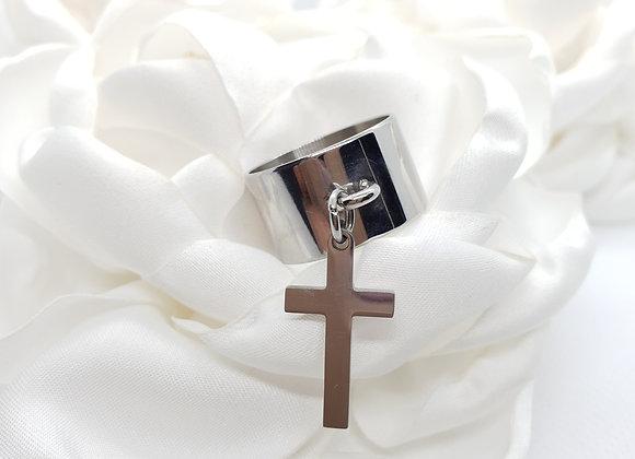 Bague acier pampille croix