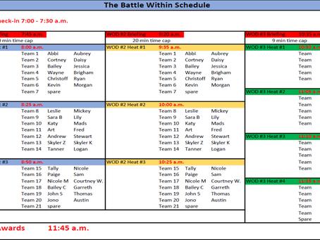 Battle Within......Way REVISED Heat Schedule