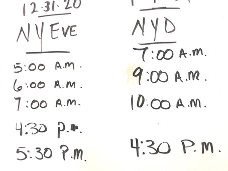 NEW YEARS EVE & NEW YEARS DAY SCHEDULE