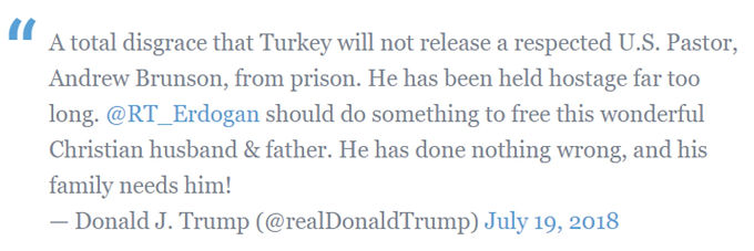 Juiz mantém pastor preso na Turquia mesmo depois de Donal Trump pedir a sua libertação