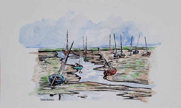 Boats On The Marshes - ink and watercolour