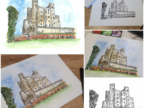 Rochester Castle Ink and Watercolour