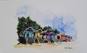 Beach huts 2 - ink and waterolour
