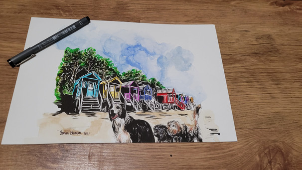 Dogs on the beach - ink and watercolour