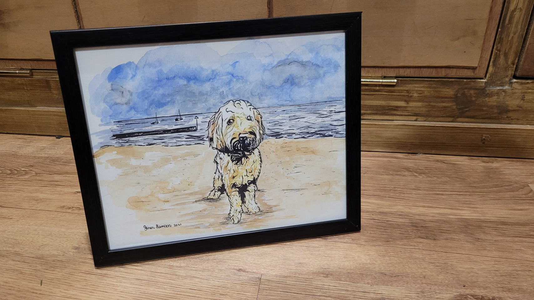 Dog on beach - ink and watercolour