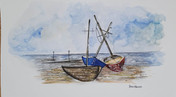 Boats on the Thames - Ink and Watercolour