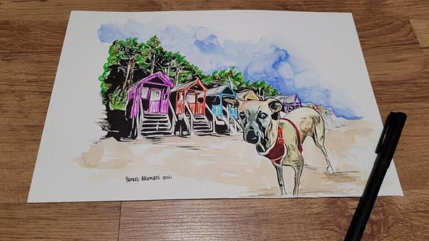 dog on the beach with beachhuts