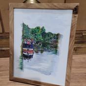 Canal Boat, Loughborough Watercolour