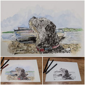 Dog by the river - ink and watercolour