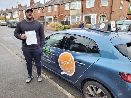 A huge congratulations to Suvwe for passing his driving test