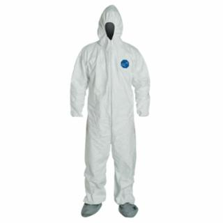 Tyvek Coveralls With Attached Hood and Boots, White