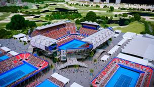 Banderazo de reactivación de obra Arena GNP Seguros, nuevo estadio tenístico