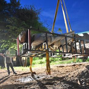 Colocación de la Estatua en Acapulco de Miguel Alemán Valdés.