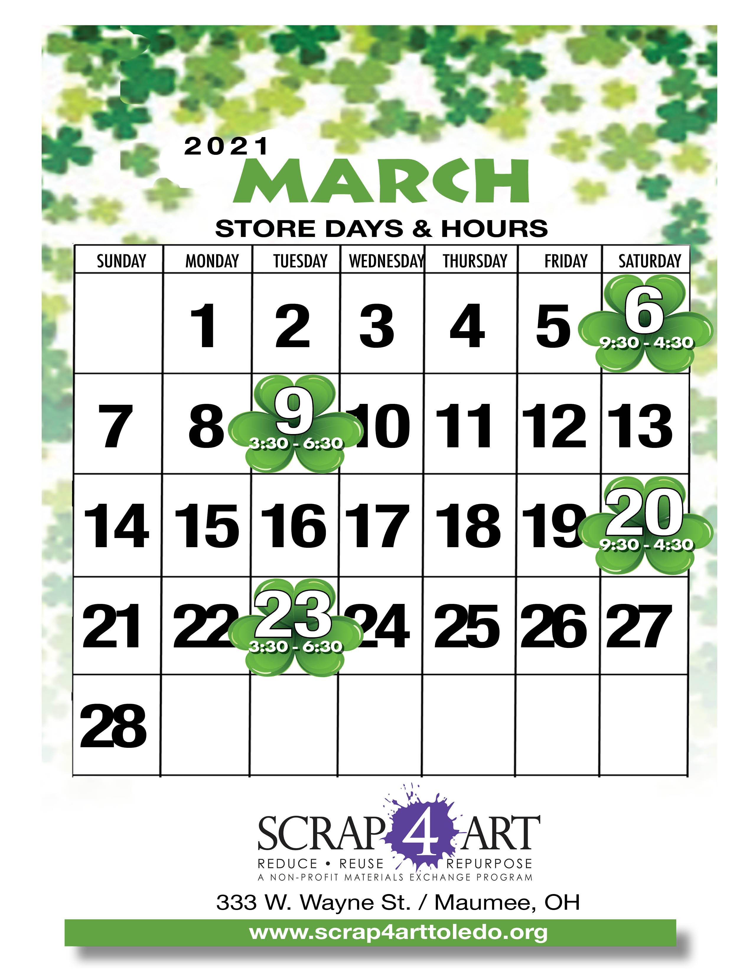 March Store Hours