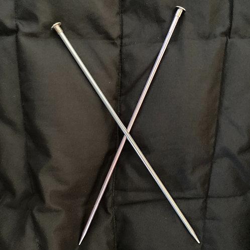 "Short 10"" Aluminum Knitting Needles"